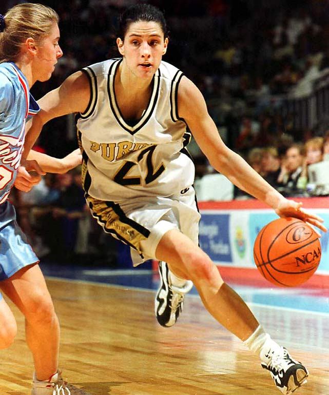 As a high school senior in 1995, she broke Indiana's women's scoring record with 2,869 points and was named the player of the year by Gatorade and USA Today. A two-time All-America guard, she led Purdue to its only national title in 1999 and was named national and Big Ten player of the year. She played five years in the WNBA with the Charlotte Sting and Indiana Fever before becoming a coach.<br><br>Worthy of consideration: LaTaunya Pollard.