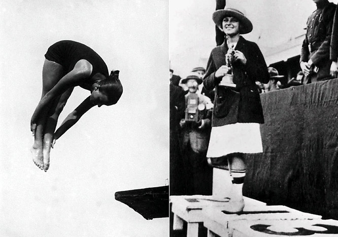 At 4-foot-7 and 65 pounds, Soule became not only the youngest (14) and smallest American to win an Olympic gold medal when she won the 3-meter springboard event in 1920, but also the first to bring home medals in both swimming and diving (silver in the three-meter springboard and bronze in the 100-meter backstroke) in 1924. <br><br>Worthy of consideration: Wilma Briggs, Melissa Fiorentino  and Hannah Swett.
