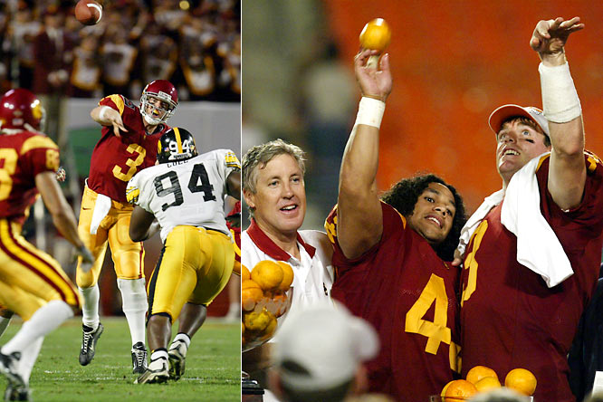 In just their second season under NFL retreat Pete Carroll, the Trojans started 3-2, then won their last eight contests, culminating in this BCS rout of the 11-1 Hawkeyes. The nation saw that a new juggernaut was emerging in the West.