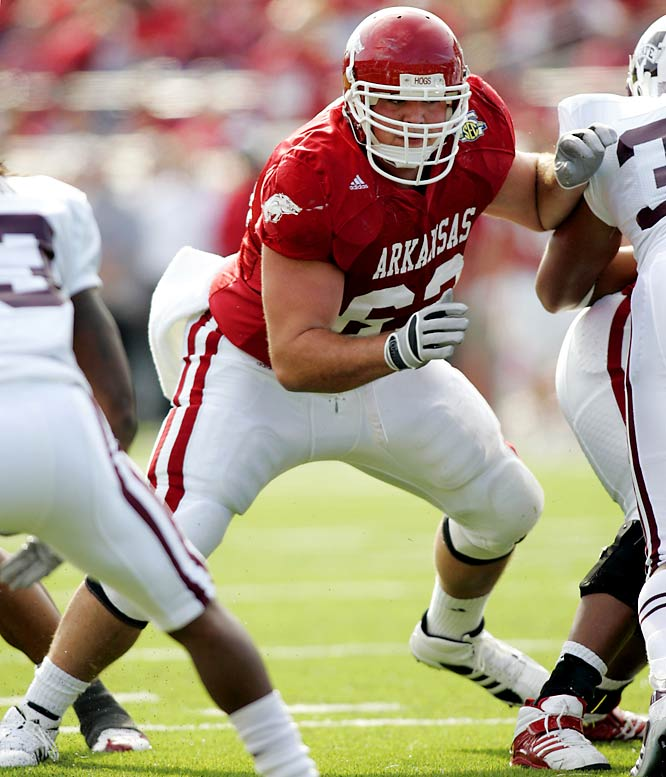 He contributed greatly to the success of former Razorback running backs Darren McFadden and Felix Jones. He won the Rimington Trophy as the nation's top center last season.