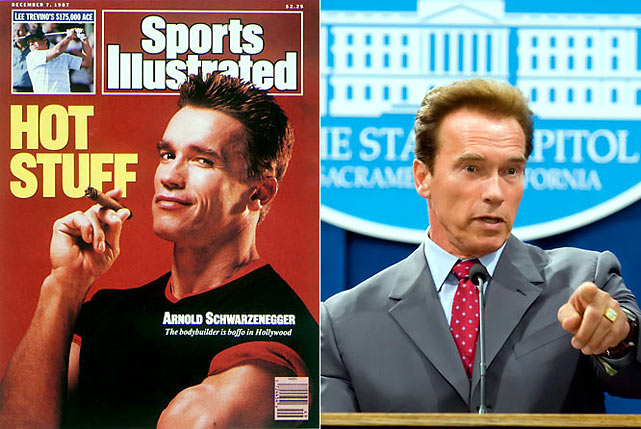 "He got our attention as a bodybuilder, proclaimed ""I'll be back"" in The Terminator , and has proved to be an astute politician, winning the governorship of California first in 2003 and again in 2006."