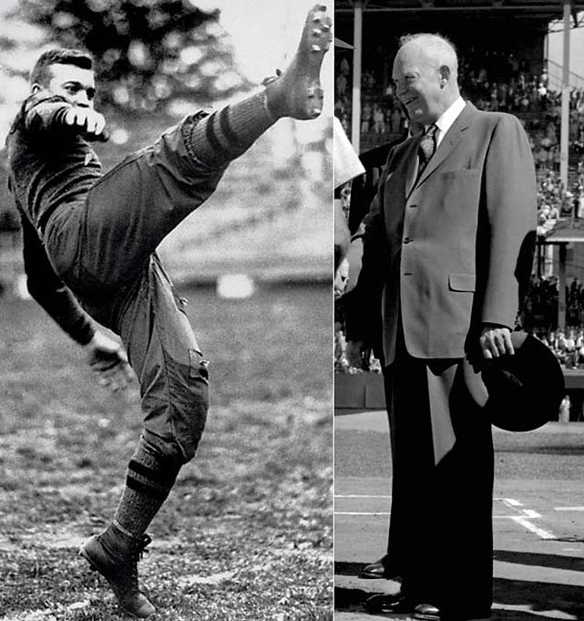A few years after his football career at West Point ended with a knee injury, Eisenhower became better known as a war hero and the 34th President of the United States.
