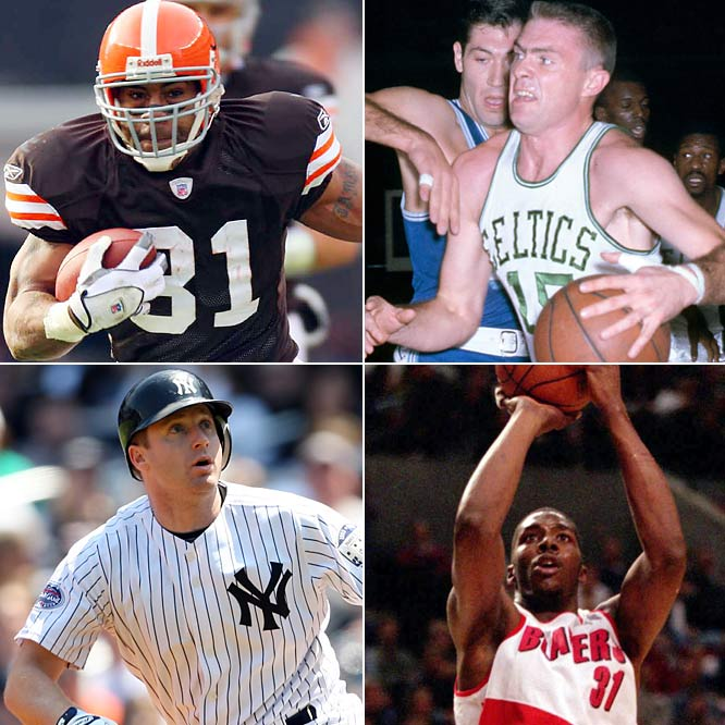 (Clockwise from top left)<br><br>Jamal Lewis (1979)<br>Tommy Heinsohn (1937)<br>Kelvin Cato (1974)<br>Morgan Ensberg (1975)<br>