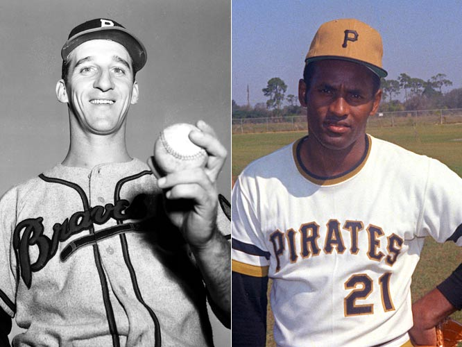 Roberto Clemente and Warren Spahn are inducted into Hall of Fame