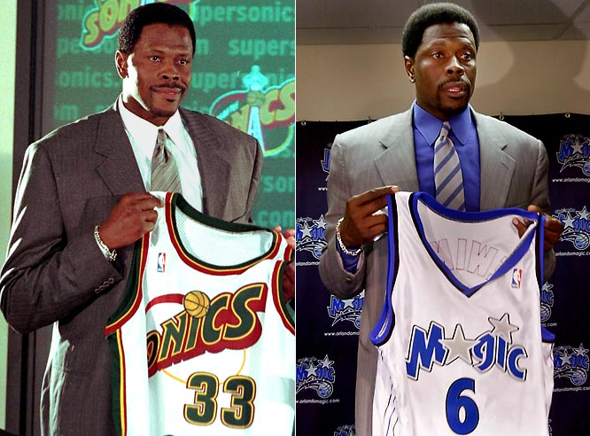 "Ewing's 15-year career in New York ended with his request for a change of scenery, and without a constantly-anticipated championship, after the Knicks fell to Indiana in the 2000 Eastern Conference Finals. Sent to Seattle in a four-team trade that fetched Glen Rice, Luc Longley, Travis Knight, Vladimir Stepania, Lazaro Borrell, Vernon Maxwell, and four picks, Ewing , 36, did not justify the expectation that inspired the Sonics' Gary Payton to say, ""I think Patrick's going to come and add us something that we needed"" -- unless the Sonics needed Ewing's career-low 9.6 points per game. He played out the string with Orlando and retired on Sept. 18, 2002."
