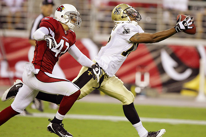 The second-year pro out of Tennessee didn't play a down as a rookie due to a leg injury but it's not slowing him down anymore. With 211 yards and a touchdown in the preseason, Meachem is trying to lock down the Saints No. 3 WR slot.