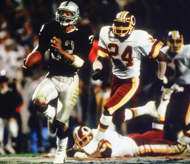 The Raiders delivered the most-lopsided outcome in Super Bowl history against the 14-2 Redskins after Washington had beaten the Los Angeles Rams 51-7 in the divisional round. MVP Marcus Allen ran for 191 yards and scored two touchdowns.
