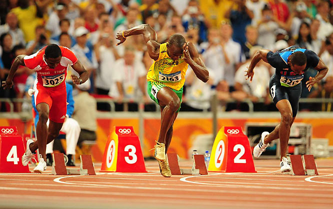 Bolt (center) produced one of the most epic races in track history -- and all with one of his shoes untied.