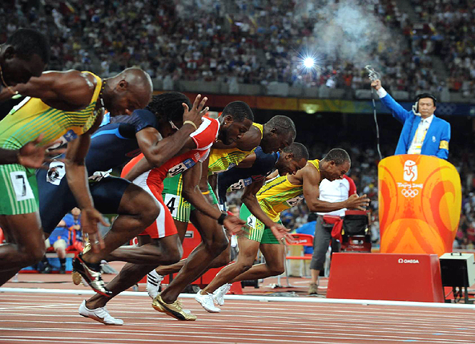 "Although it was not the ""Three-Man Showdown"" that track purists anticipated, the Men's 100-meter final was still the sport's glamor event as Usain Bolt of Jamaica prevailed in a record-setting 9.69 seconds. Tyson Gay of the USA failed to qualify for the final."