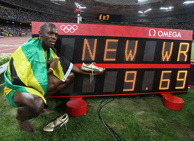Bolt broke his own record, set in May in New York, by .03 second and became the first sprinter to set the world record in an Olympic final since Donovan Bailey ran 9.84 at the 1996 Atlanta Games.