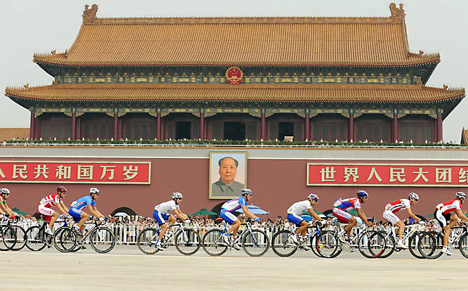 The men's road cycling course took the riders past Tiananmen Square.