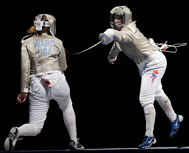Mariel Zagunis (right) and Becca Ward won the first medals of the day for the U.S.  Zagunis nabbed the gold and Ward a bronze in fencing.