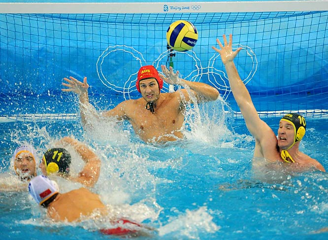 Goalie James Stanton of Australia keeps an eye on the ball against Montenegro.