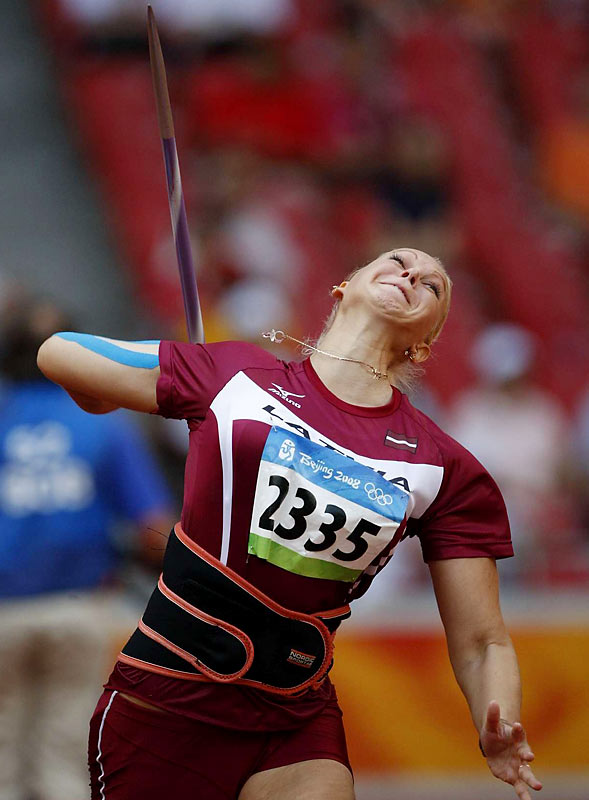 Sinta Ozolina of Latvia placed 11th during qualifying for the javelin event.