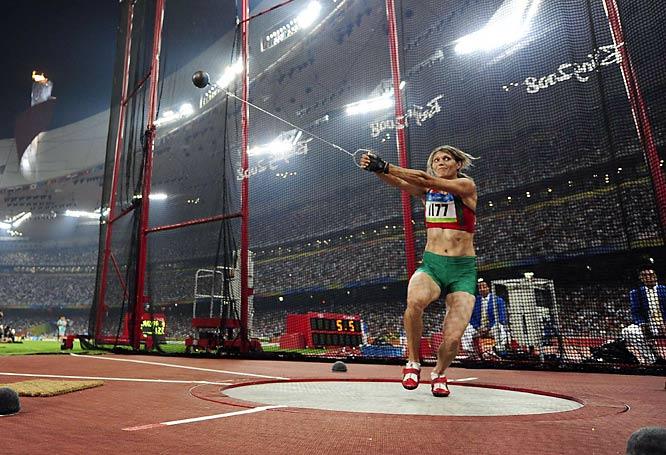 Aksana Miankova of Belarus won gold in the hammer throw.