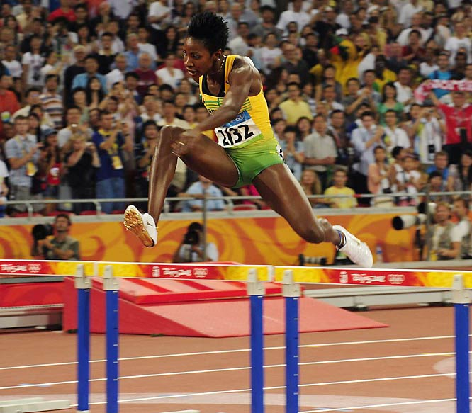 Melaine Walker of Jamaica finished first in the 400-meter hurdles.