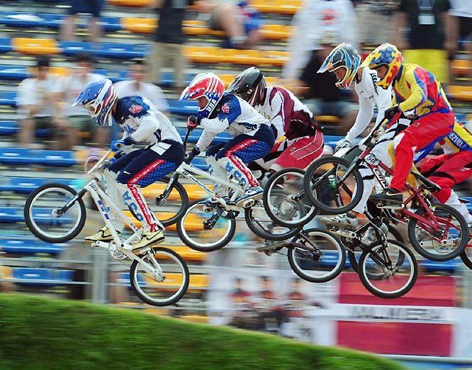 Mike Day (far left) and Donny Robinson lead the pack in the BMX debut.