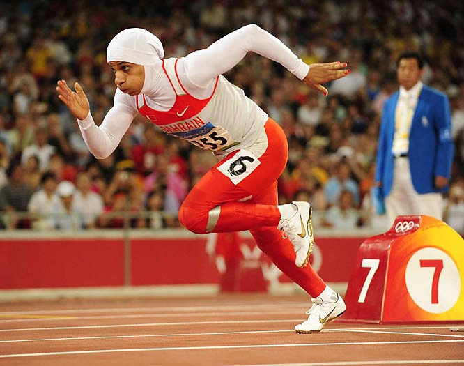 Roqaya Al-Gassra of Bahrain competed in the 200  while wearing a white hijab and a red, full-length suit. She didn't qualify for tomorrow's final.