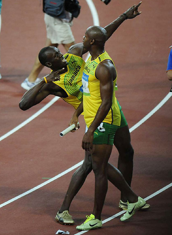 The gold medal was the third of the Beijing Games for  Bolt and the first for Powell.