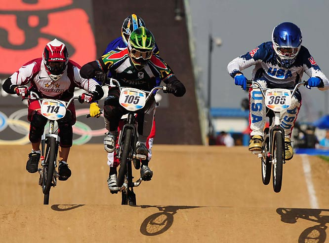 Mike Day of the U.S. (far right) took home silver in BMX.