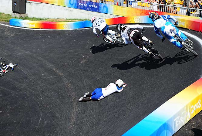 Riders steer clear of Shanaze Reade of Great Britain in the women's BMX.