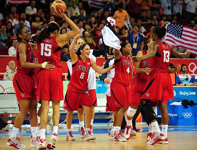 Team USA celebrates winning the gold against Australia.