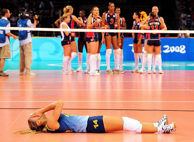 Fabiana de Oliveira of Brazil is overwhelmed with emotion after winning the volleyball gold medal.