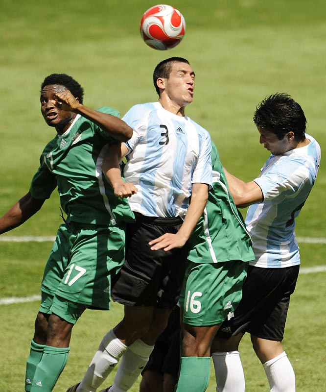 Luciano Monzon of Argentina battles against Nigeria during their 1-0 gold medal-winning game.