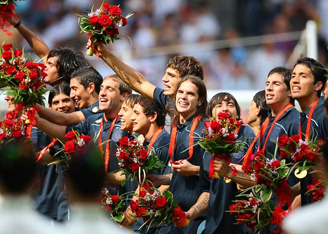 Argentina celebrates its second consecutive gold medal in Olympic men's soccer.