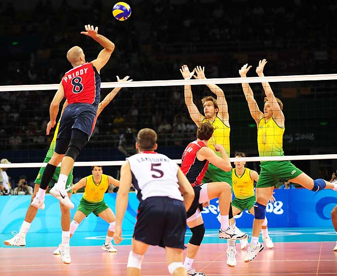 William Priddy (far left) and the Americans claimed their third gold medal with a 20-25, 25-22, 25-21, 25-23 victory in the final. Top-ranked Brazil, a two-time gold medalist, settled for the silver medal.