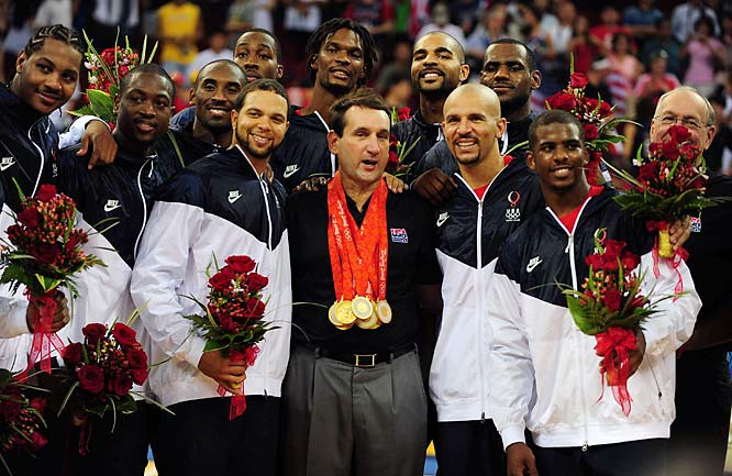 Coach Mike Krzyzewski and team USA with their medals -- the first U.S. gold in men's basketball since the 2000 Sydney Olympics.
