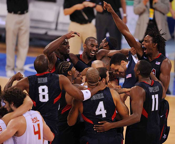 Culminating a three-year mission to end years of embarrassing international performances, the U.S. men's basketball team survived a huge challenge from Spain to win 118-107 in the gold-medal game Sunday.