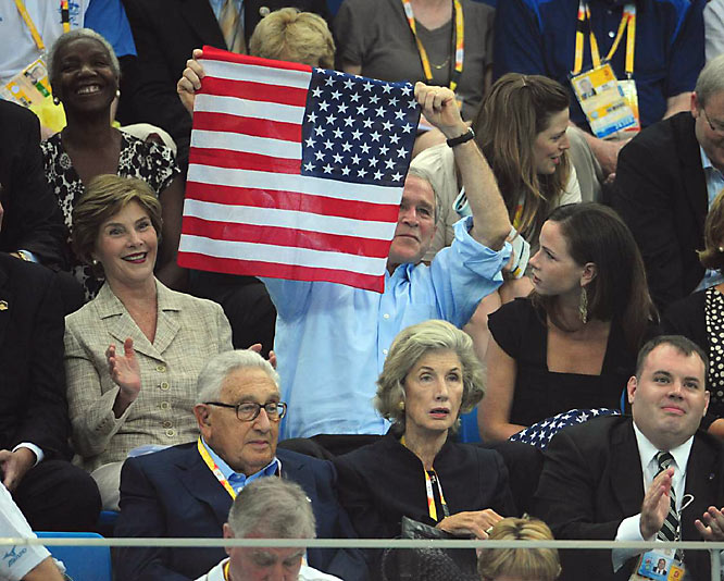 President Bush and family were on hand to watch Phelps' victory.