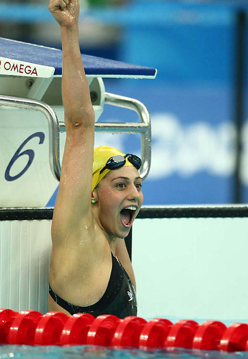 Stephanie Rice broke the world record in the 400 IM to win Australia's first gold medal in Beijing.