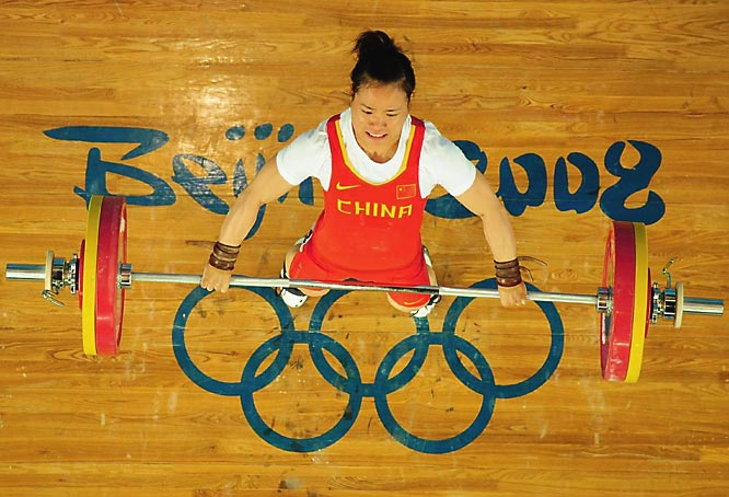 Chen Yanging of China won the gold medal in the women's 58kg weighlifting.