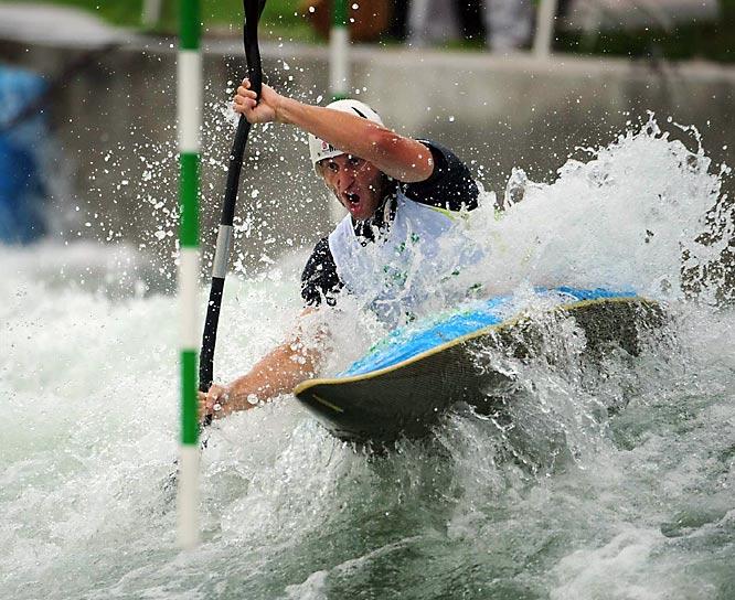Atanas Nikolovski of Macedonia in a heat of the kayak men's singles.