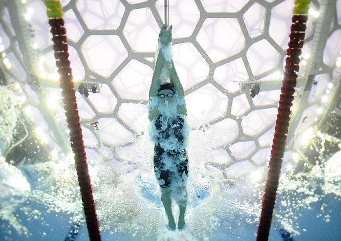 U.S. breaststroker Rebecca Soni in a semifinal on Monday.