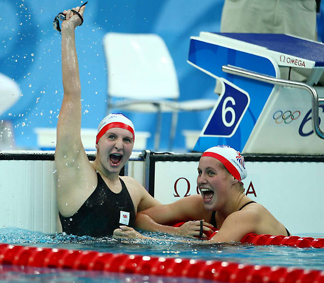 Britain's Rebecca Adlington (left), with teammate Joanne Jackson, celebrates her gold medal time of 4:03.22 in the 400m freestyle. Jackson won the bronze.