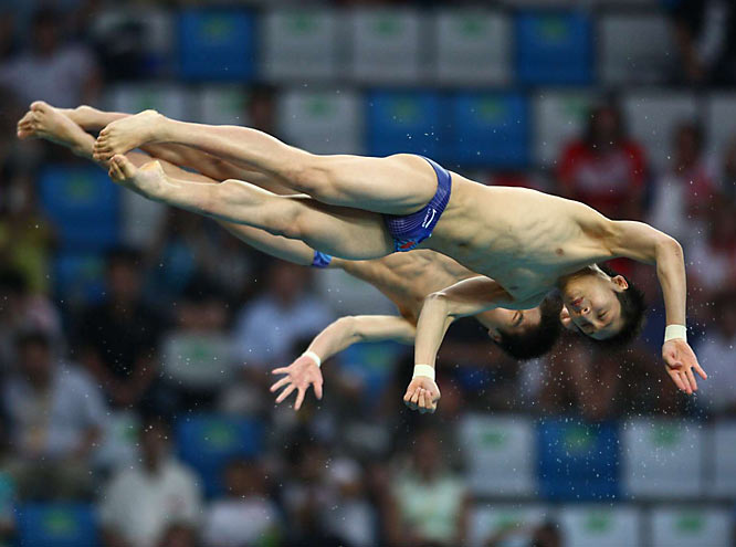 Lin Hue and Huo Liang of China won gold in the 10 meter platform synchronized diving.