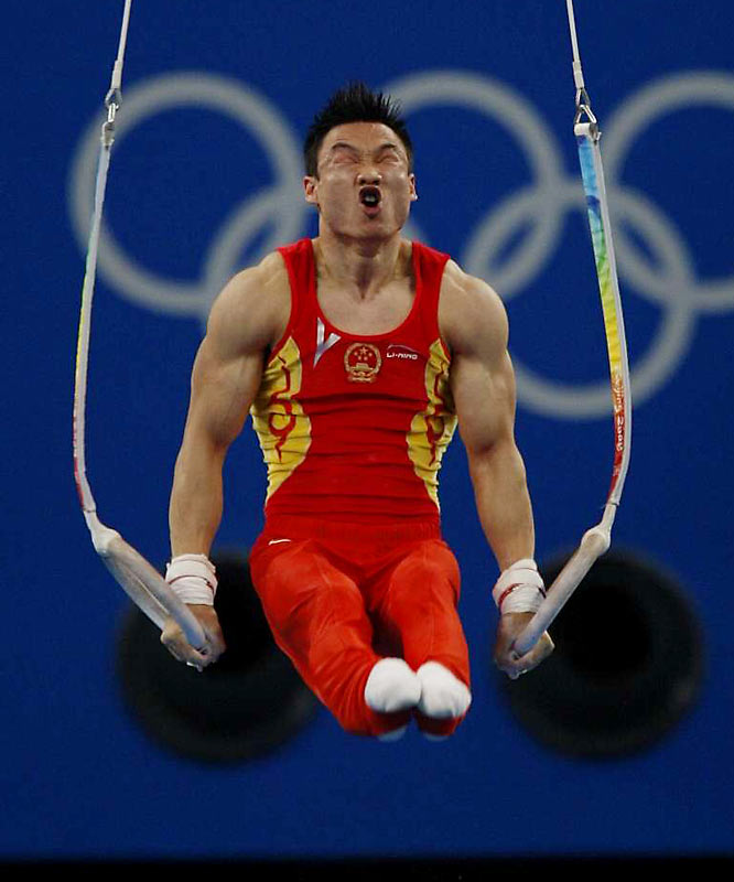 China's Yang Wei during the men's artistic gymnastics team final.