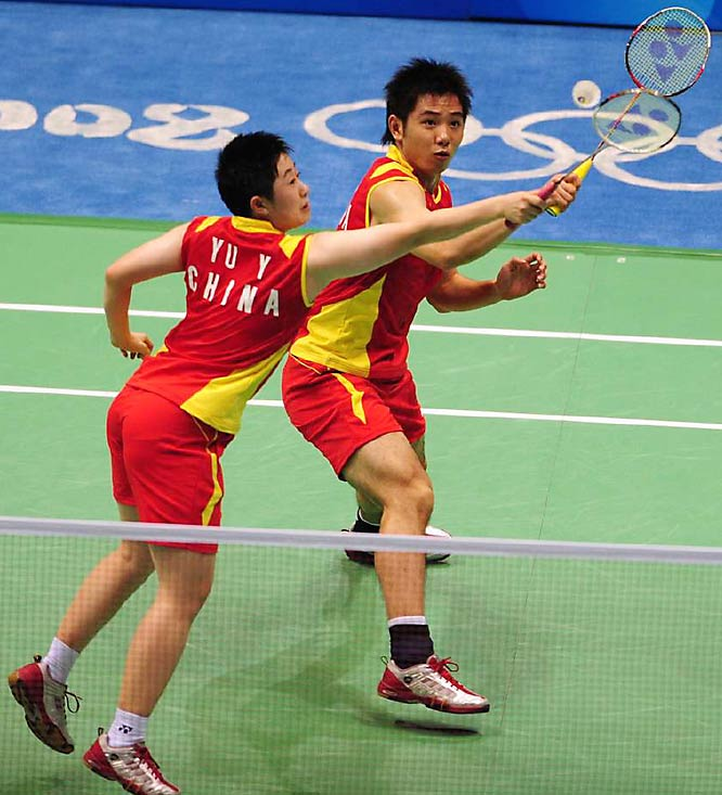 China's Yu Yang (left) and He Hanbin during the  badminton mixed doubles quarterfinalsy.
