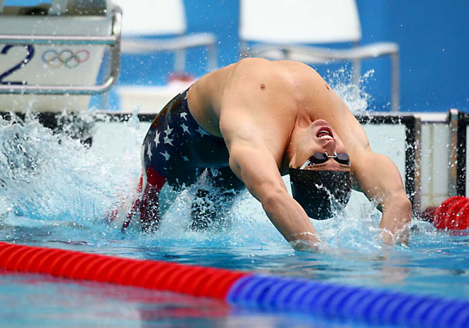 Aaron Peirsol of the U.S. won the gold in the men's 100m backstroke, defending his title and setting a new world-record time of 52.54.
