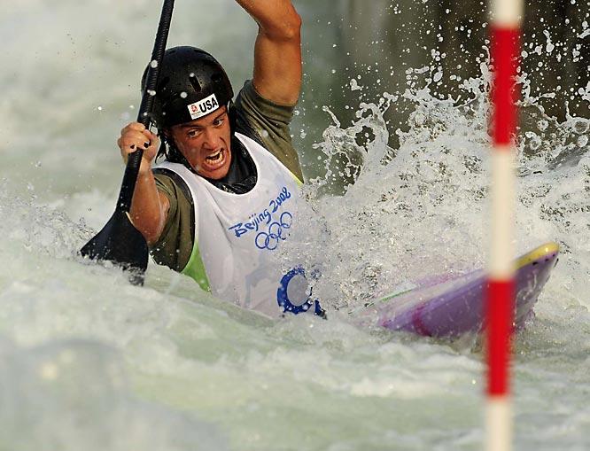 Benn Fraker of the U.S. in the canoe single final.