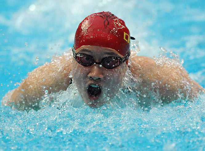 Zige Liu of China during the semifinals of the women's 200m butterfly.