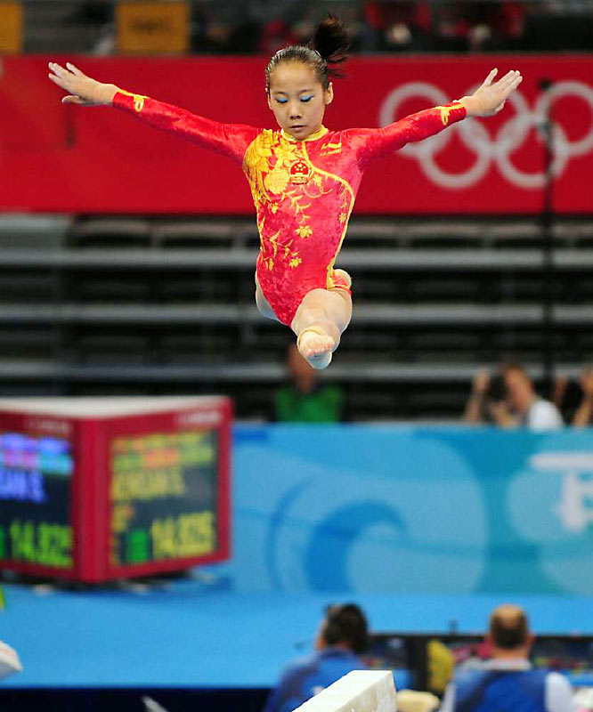 Deng Linlin, the smallest off the six competitors on the Chinese team, played her part to virtual perfection on the balance beam.