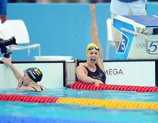 Stephanie Rice of Australia won the gold and set a world record of 2:08.45 in the 200m individual medley.
