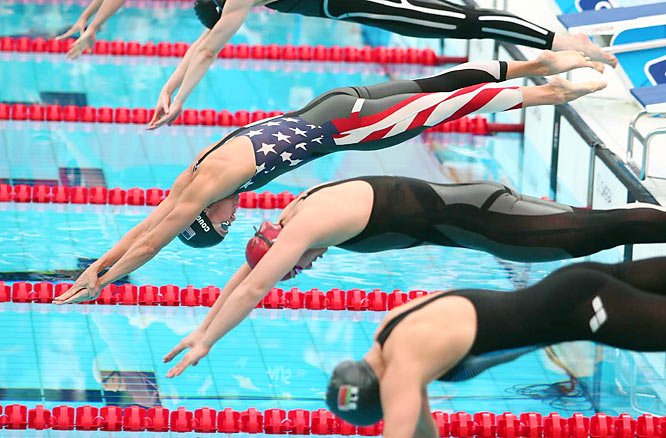 Natalie Coughlin of the United States starts in Lane 5 during the women's 100m freestyle semifinals.