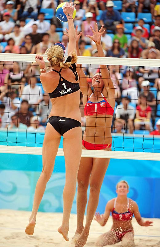 Kerri Walsh of the United States gets up during the preliminaries of the women's beach volleyball competition.