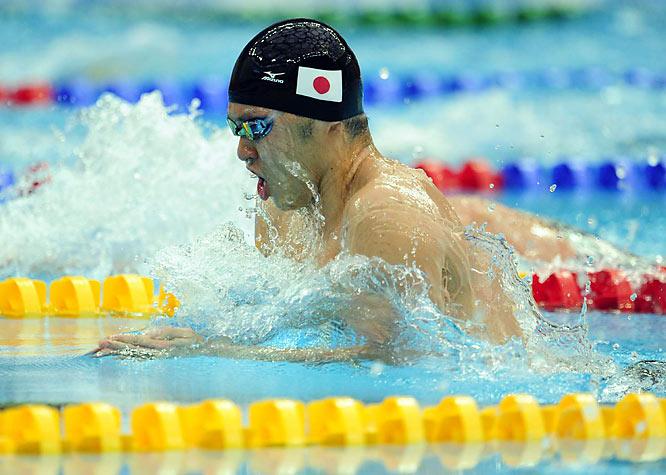 Japan's Kosuke Kitajima finished the men's 200m breaststroke final in 2:07.64, winning gold while establishing a new Olympic record.
