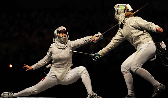In the women's team sabre final, Olga Kharlan helped Ukraine win the gold over Bao Yingying and China.